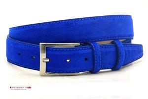 3,5cm pantalon riem kobalt blauw suède blks350am