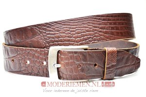 4cm bruine riem met croco print - jeans riem bruin Timbelt br622TB
